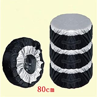 Car Black Sliver 13-19'' ,17-22'' Automotive Spare Tire Tyre Wheel Cover With Carrying Handles Tote Car Wheel Protector Storage Bag (4PCS Of Pack) (80cm)