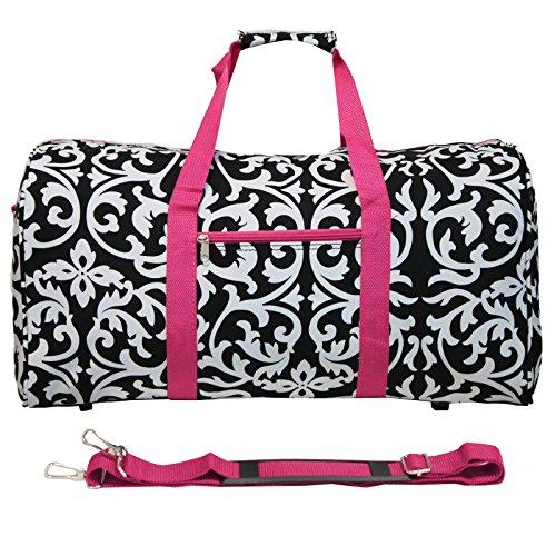 World Traveler Value Series Damen-Sporttasche, 56 cm, leicht, Braun, Gänseblümchen, Einheitsgröße, Damast mit rosafarbenem Rand (Mehrfarbig) - 811022-501-F-1
