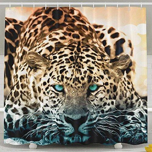 JOOCAR Design Duschvorhang, cooles Tier blaue Augen Leopard, wasserdichter Stoff Stoff Badezimmer Dekor Set mit Haken