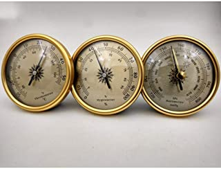 1set 3 in 1 Quality Dial Traditional Weather Station Metal Barometer Hygrometer Temperature 72mm Golden and Silver