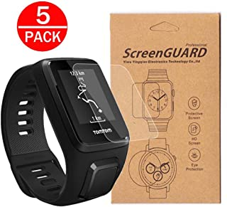 [5-Pack] For TomTom Spark 3 Cardio Music GPS Fitness WatchScreen Protector, Full Coverage Screen Protector for Tomtom spark 3 Watch HD Clear Anti-Bubble and Anti-Scratch