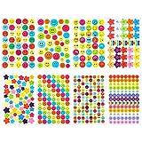 AUXSOUL 80 Juegos de Pegatina Sonriente, 5080 Coloridas Pegatinas Redondas de Caritas Sonrientes y Pegatinas de Estrellas, Pegatinas para niños, Pegatinas de Recompensa para Profesores y Padres