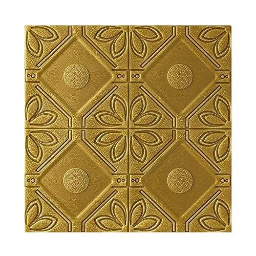 3D zelfklevende muursticker, milieubescherming XPE waterdicht en anti-botsing, Europese stijl huis zelfklevende muursticker 3d stereo behang voor woonkamer slaapkamer 10 tablets Bronze Gold