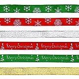 137M 6 stile Nastro Natalizio Nastro in Raso Colorato Decorativo Per Decorazione di Nozze Matrimonio Portaconfetti Bomboniere Regalo Fai da Te Fiocchi Decorazione Natale Feste (Natale 6 Colori)