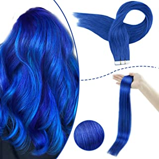 RUNATURE Remy Tape In Hair Extensions 14 Inch Color Blue 20gram 10Pieces Short Hair Extensions Short Blue Hair Extensions Tape In Hair Adhesive Invisible Pu Tape In Blue Hair Extensions Remy Hair