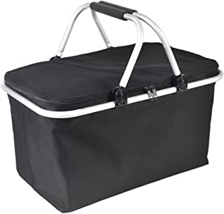 GGK-Outdoor-Folding -Waterproof -Picnic Ice Bag Insulated Picnic Basket - Strong Aluminum Frame (Black)