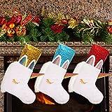 Kasyat 3 Paquetes de Medias Navidad Unicornio de 18 Pulgadas con Piel Sintética de Felpa y Lentejuelas Medias Divertidas Navidad Unicornio para Decoración Árbol Chimenea Navidad (Oro, Rojo y Azul)