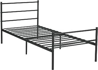 GreenForest Metal Bed Frame Twin Size, Two Headboards 6 Legs Mattress Foundation Black Platform Bed