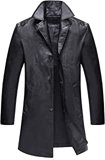 GREFER-Mens Trench Coats Plus Size Cool Thin PU Leather Long Jacket Lightweight Single Breasted Locomotive Overcoat