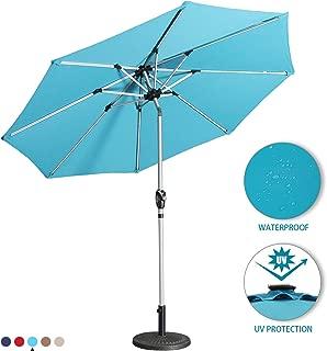 Aok Garden 9 Ft LED Light Bars Patio Outdoor Umbrella Solar Power Market Table Fade-Resistant Umbrella with Push Button Tilt & Crank and 8 Sturdy Ribs (Solar LED,Lake Blue)
