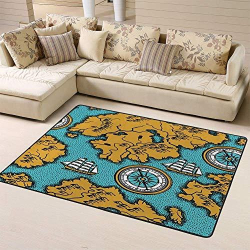 Kcmical Alfombras de área Alfombra de Sala de Estar Alfombra de Dormitorio Antiguo Mapa náutico Islas de Barcos y Retro Vintage para Jugar Alfombra y alfombras de Piso sólido