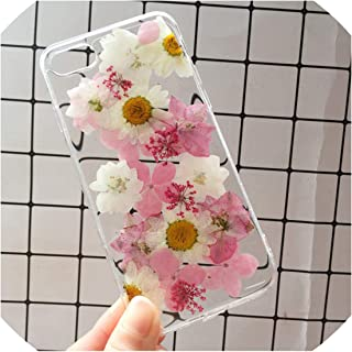 U-See Real Pressed Dried Flowers Phone Case for iPhone Xs Max Xr 6 6S 7 8 Plus X Silicon TPU Clear Floral Cover Cases,02,for iPhone Xr