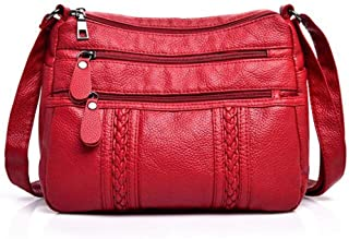 Simple crossbody bag, washed leather shoulder bag, soft leather ladies small bag, multi-compartment all-match bag, necessary for going out, black and red (Color : Red, Size : One size)