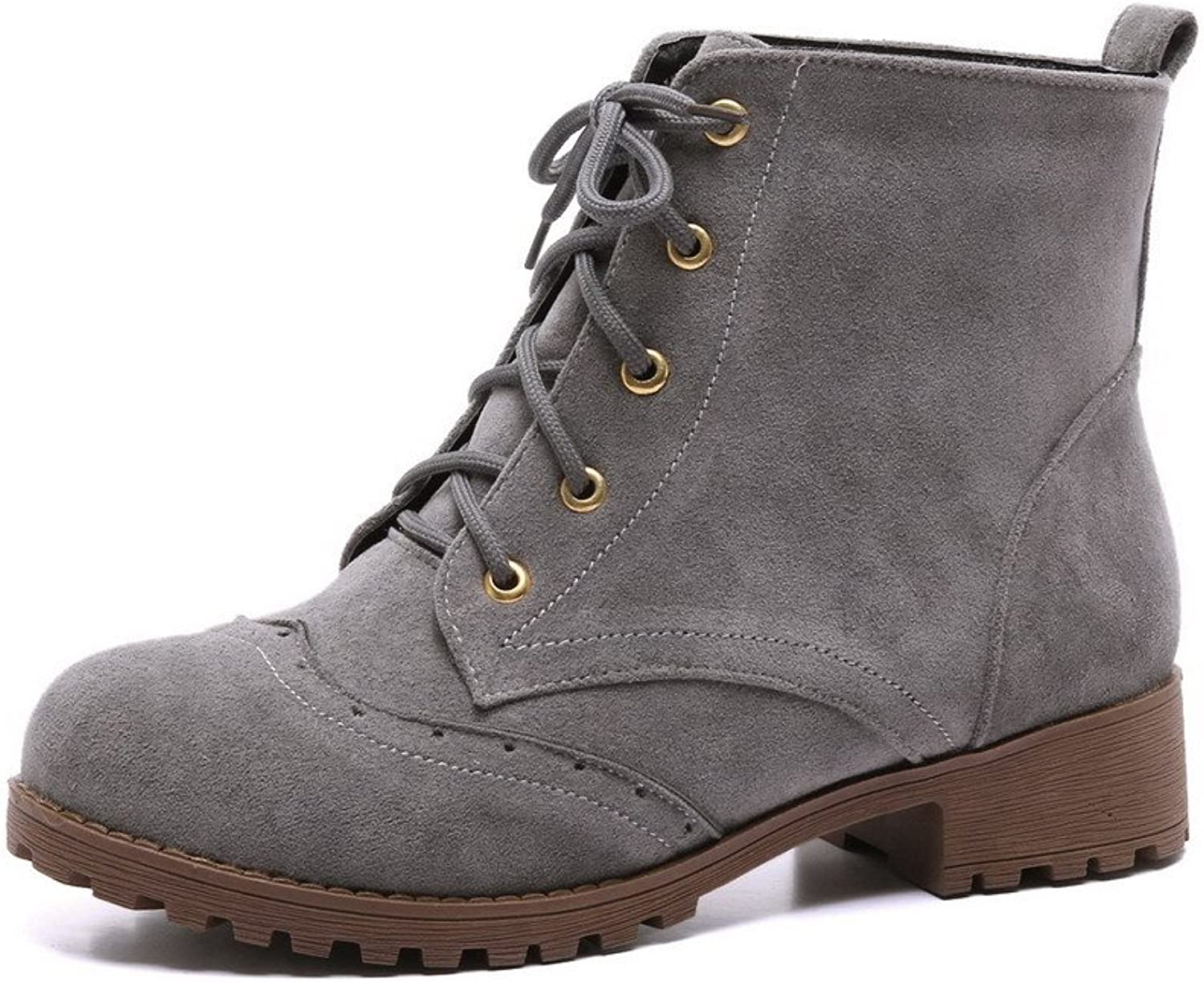 AmoonyFashion Women's Low-Heels Frosted Low-top Solid Lace-up Boots