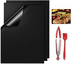 BBQ Grillmatte FDA Teflon Grillmatten Gasgrill Antihaft Grill und BackmatteWiederverwendbar PFOA-Frei Toll über Kohle, für Fleisch, Fisch und Gemüse 3er Set 40x33cm GrillspießeBürsteGrillzange