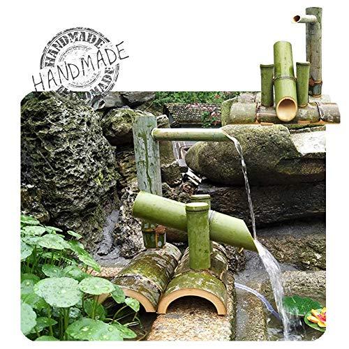 WishY Gartensprinkler, Bambusbrunnen, für Teiche, Aquarium und Poolterrassen, Handgefertigt,19.69in
