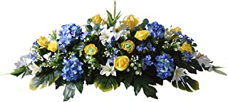Marbrerie Funelior Dessus de Cercueil - Rose, Renoncule - Fleur Artificielle - BlancBleuJaune - 43cm