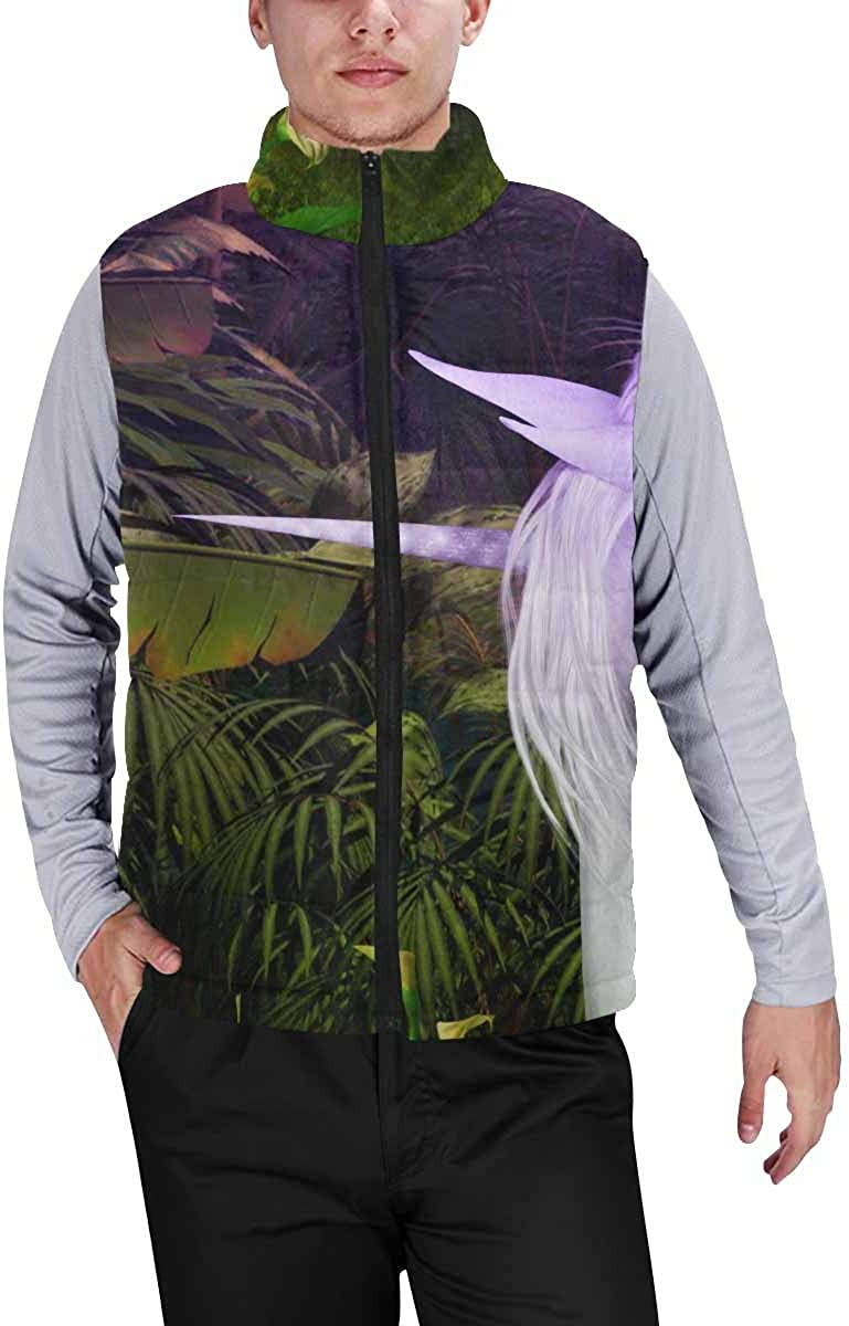 InterestPrint Casual Classic Quilted Sleeveless Vest for Men Unicorn on the Forest XXL