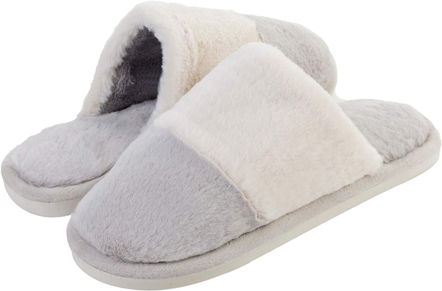 JINKUNL Womens Mens Comfort Furry House shoes Winter Warm Memory Foam Clog Slippers Indoor & Outdoor Light Grey