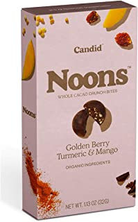 Sponsored Ad - Candid NOONS – Whole Cacao Crunch Bites | Golden Berry Turmeric & Mango | Gluten Free, Vegan, 1.2 oz., 6 pack