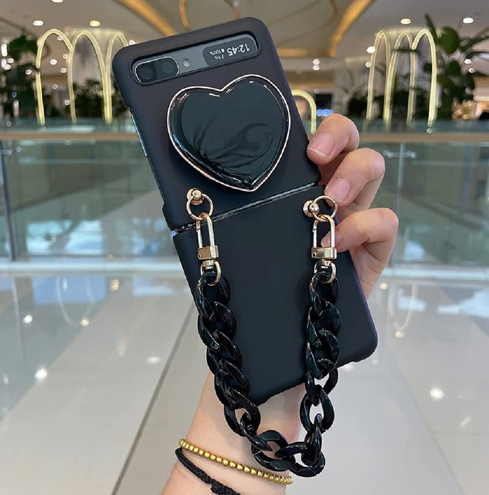 Fashion Cute Love Heart Stand Holder Cool All Black Phone Case Cover with Bracelet Hand Chain for Samsung Galaxy Z Flip 3 5G (1, Galaxy Z Fip 3)