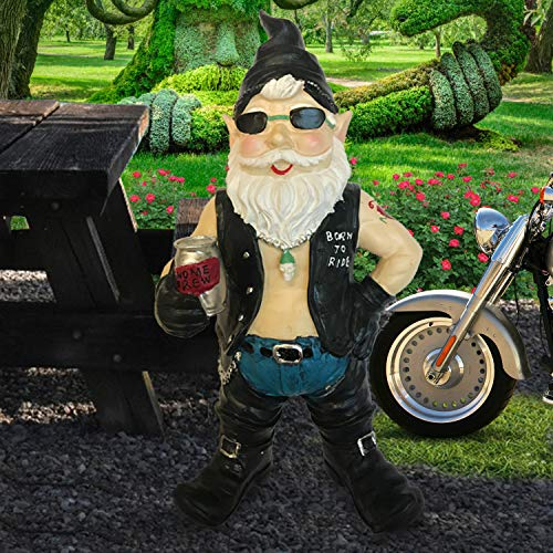 CT DISCOUNT STORE Biker Dude and Biker Babe Motorcycle Gear and Riding Boots Garden Gnome Yard Decoration Couples (Biker Dude Black)