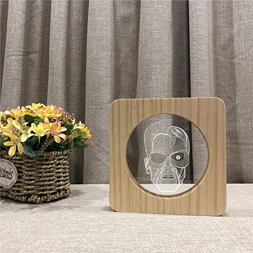 Only 1 Piece Human Head 3D Wooden LED Table lamp Childrens Room Decoration Table lamp Switch Control Engraving lamp