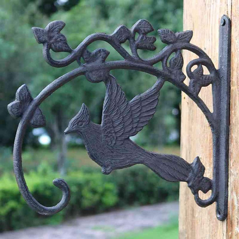 XUYRENP Retro Nostalgic Classical Courtyard Cast Iron Bird Crafts Hanging Basket Hanging Wall Hook