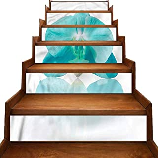 Aqua Stairs Risers Stickers Wall Blue Orchid Nature Botanic Landscaping Decoration