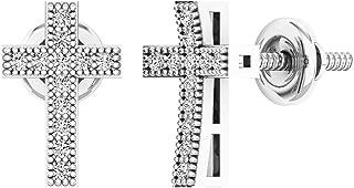 0.12 Carat (ctw) 14K Gold Round White Diamond Ladies Cross Stud Earrings