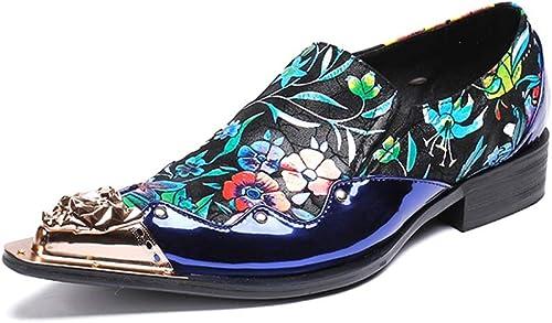 HNM chaussures Hommes Mocassins Mocassins Chaussures Cuir Oxford Cow-Boy Bout métallique Pointu Intelligent Mariage Soir Fête Robe Bleu Chaussures Taille 37-46 EU  économiser jusqu'à 80%