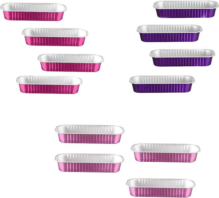12 Disposable Colorful Aluminum Rectangle Mini Loaf Pan 3 COLORS 4 PURPLE 4 HOT PINK 4 TAFFY PINK 6 7OZ 100 Microwave SAFE