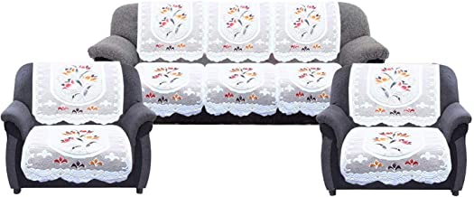 Kuber Industries™ Cream Flower 5 Seater Net Sofa Cover| Slip Cover Set -10 Pieces Code-S006