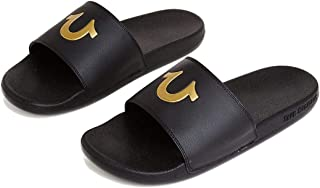 True Religion Men's TR Horseshoe Logo Slide Sandals (8 US Men, Black/Gold)