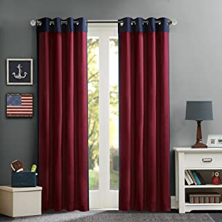 MIZONE MZ40-318 Mi-Zone Red Living, Casual Grommet Room Darkening Bedroom, Liam Solid Window Curtains, 50X63, 1-Panel Pack