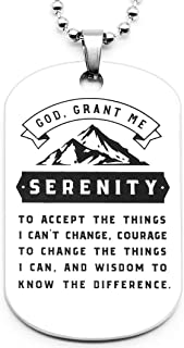 Serenity Prayer Dog Tag Pendant Necklace - Faith Sobriety Recovery Jewelry Accessories for Men Women