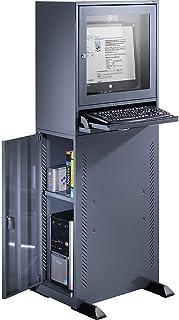 QUIPO Armoire pour ordinateur - gris bleu - meuble informatique pour poste de travail professionnel - Boitier écran et pa...