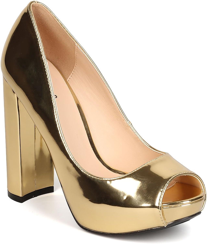 Qupid Women Metallic Leatherette Peep Toe Platform Block Heel Pump FI98 - gold
