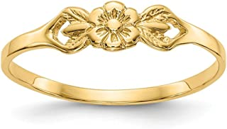 14k Yellow Gold Flower Baby Band Ring Size 5.00 Fine Jewelry Gifts For Women For Her