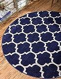 Unique Loom Trellis Collection Moroccan Lattice Dark Blue Round Rug (3' 3 x 3' 3)
