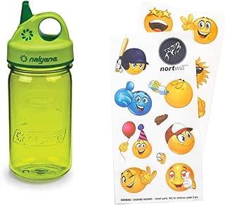 Nortwill Nalgene Kids Water Bottle Set, Nalgene Water Bottle 12oz Grip-N-Gulp BPA-Free Water Bottle with Straw - Cute Emoji Waterproof Stickers for Water Bottles