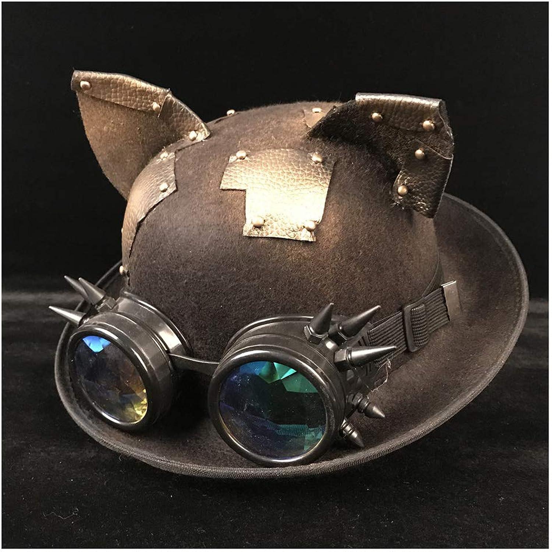 VAXT Women Men Steampunk Bowler Hat Headwear Dome Topper Luxury Fedora Hat Glasses Topper Top Hats