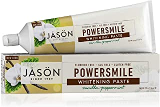 JASON Powersmile Whitening Fluoride-Free Toothpaste, Vanilla Mint, 6 Ounce Tube