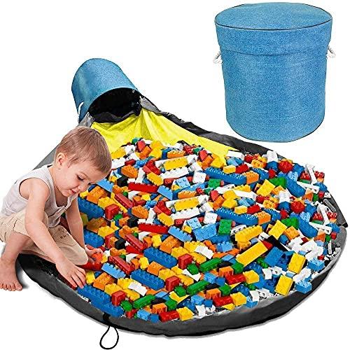 Efforts Almacenamiento De Juguetes para Niños, Bolsa De Almacenamiento De Juguetes, Bolsa Plegable De Almacenamiento Rápido para Juguetes Niños (Azul)