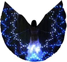 LED Belly Dance Isis Wings for Women, Colorful Butterfly Shawl Fairy Ladies Cape Nymph Pixie Costume Angel Wings with Telescopic Sticks for Halloween Carnival Performance Clothing
