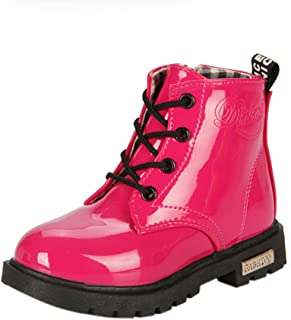 Maxu Fashion Girls Boys PU Waterproof Child Martin Boots