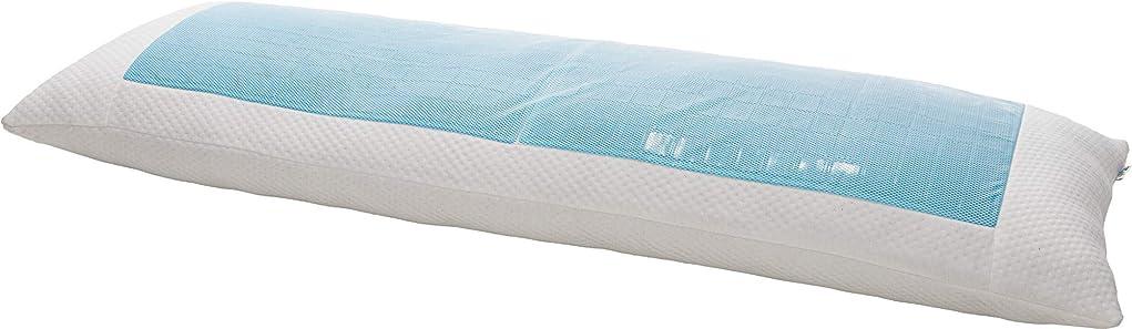 エンドテーブルパワー変換(マインドフルデザイン) Mindful Design 冷却ボディピロー ソフトポリフィル付き しっかりしたフルボディピロー 冷却ジェル付き うつ伏せや横向きに寝る方に Single Sided ホワイト