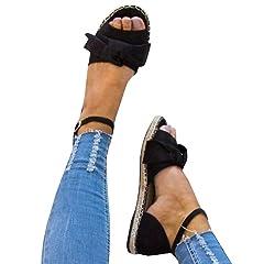 d42a28c93246 Fashare Womens Espadrilles Tie Up Flat Sandals Peep Toe Class .