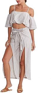 2a3132787d Amazhiyu 2 Pieces Outfit for Women Linen Off Shoulder Tops and Slit Wide  Leg Pants Set