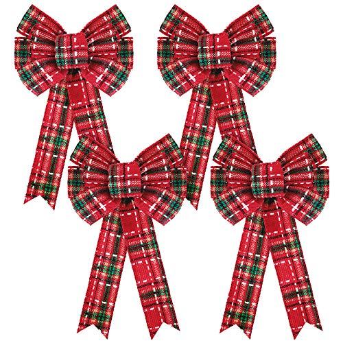 B08KXYB9ZK 4 Stück Weihnachten Plaid Schleifen Weihnachten Rot Büfffel Karo Schleifen Kranz Plaid Bögen für Weihnachtsbaum Zuhause Handwerk Dekorationen